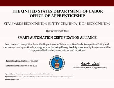SACA Receives SRE Designation from the Department of Labor